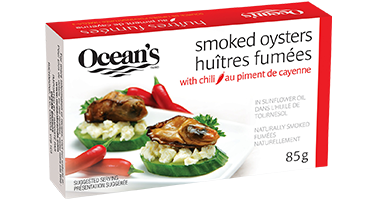 One can of Ocean's Smoked Oysters with Chili