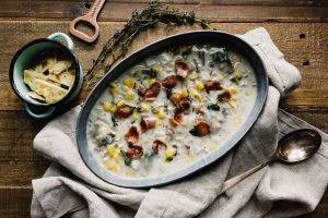 a pot of Ocean's Summer Corn Chowder