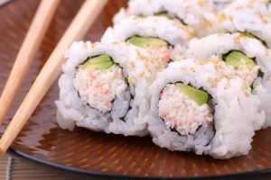Inside out sushi rolls with crabmeat and avocado