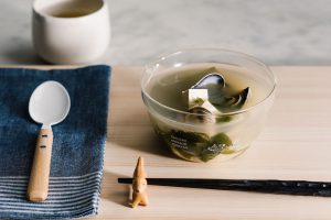 a simple bowl of clam miso soup