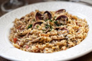 A full plate of Clam Risotto Romano