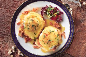Top view of 2 Salmon Biscuits Benedict