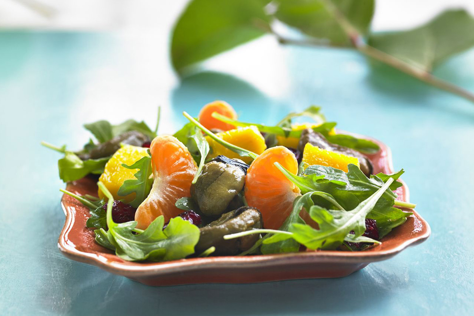 Smoked Mussels, Arugula and Mango Salad