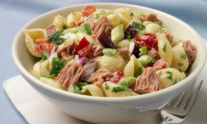Conchiglie (Seashell Pasta) Salad with Tuna and Bell Peppers