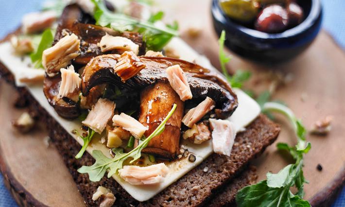 Tuna and Grilled Portobello Open Face Sandwich