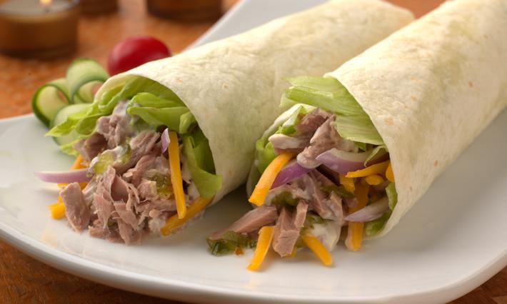 Tortilla Roll With Tuna Salad, Shredded Lettuce and Cheddar