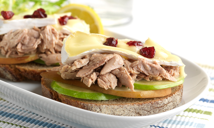 Tuna, Pear and Apple Brie Melt Sandwich