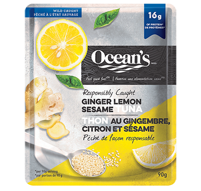 One pouch of Ocean's Ginger Lemon Sesame Tuna