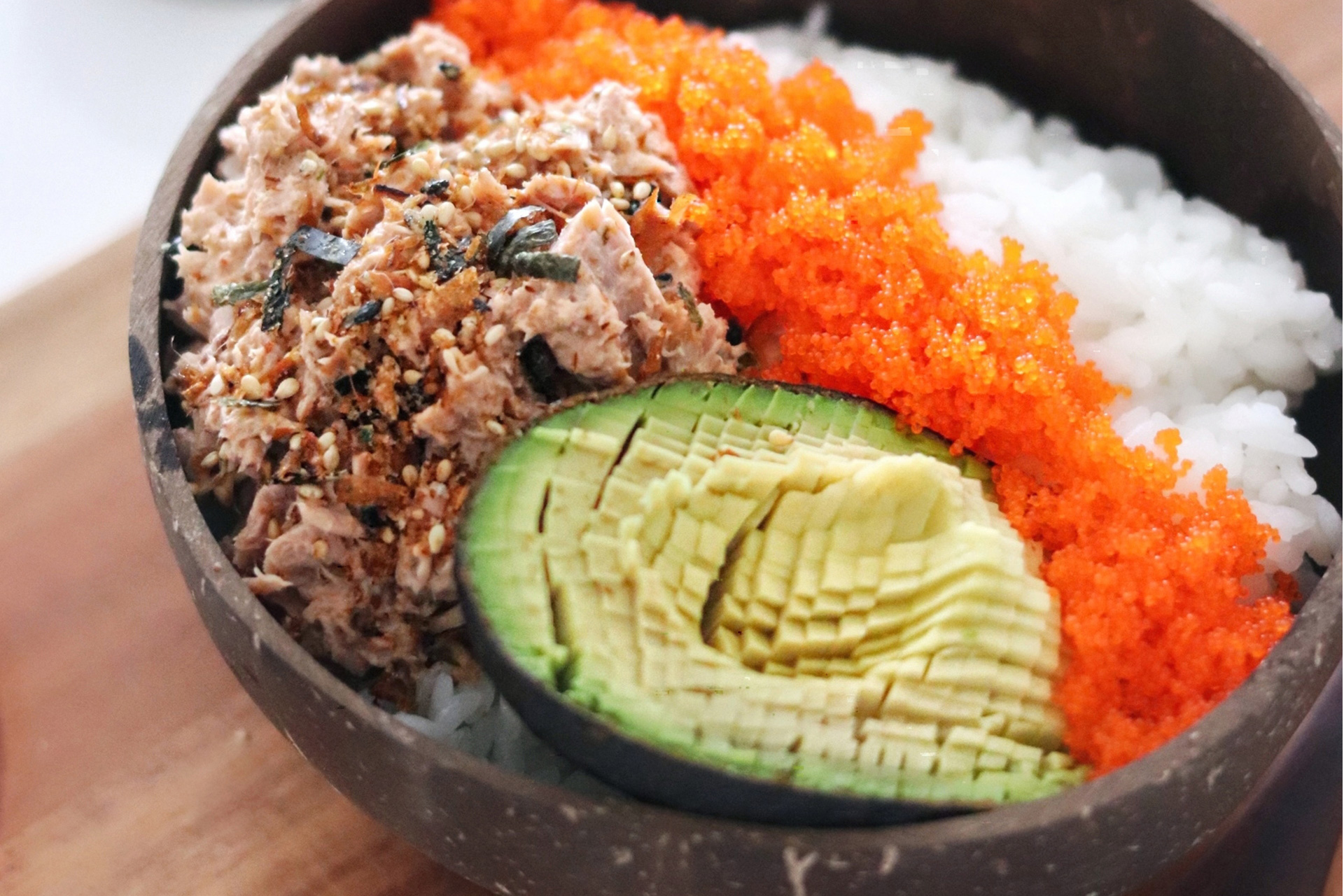Spicy Mayo Tuna Bowl with Avocado and Masago