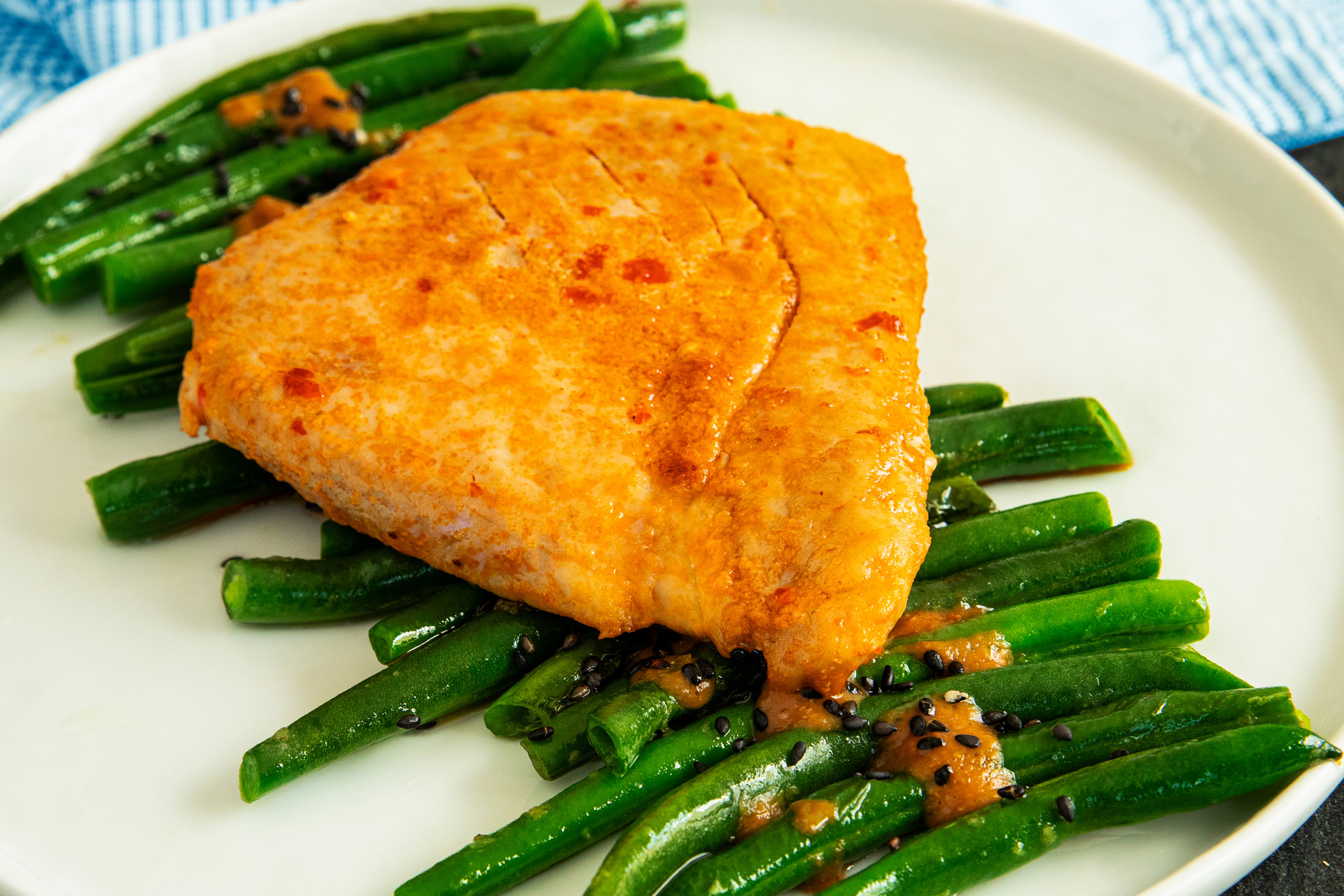 Tuna Steak With Crispy Sesame Miso Green Beans