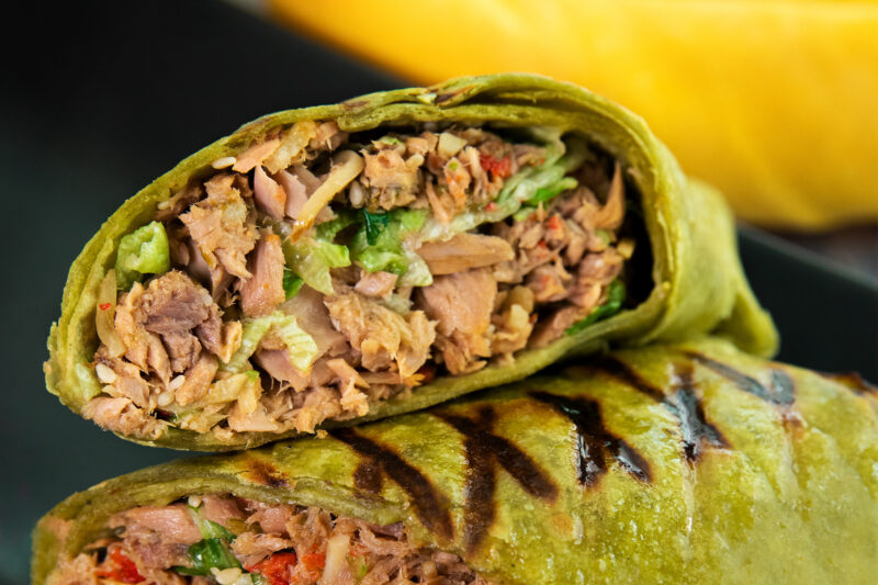 Close up of 2 Zesty Grilled Tuna Wraps