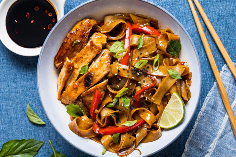 A bowl of Thai Chili Yellowfin Tuna Steaks with Spicy Drunken Noodles