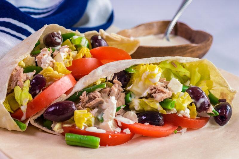 2 Tuna Salad Pita Pockets with sauce on the side