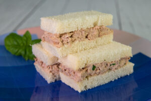 3 stacked Tuna Finger Sandwiches