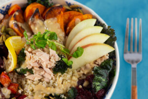 Harvest Tuna Bowl with roasted veggies and freshly cut apples