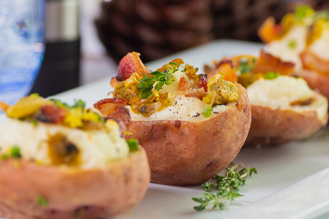 Clam Chowder Loaded Potato Skins