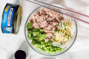 A sushi bowl with Ocean's Chunk Light Tuna