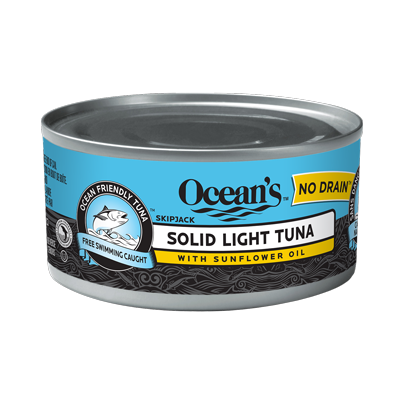 One can of Ocean's No Drain Solid Light Tuna With Sunflower Oil