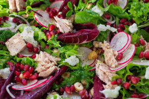 Winter Salad with Tuna, Radish and Pomegranate