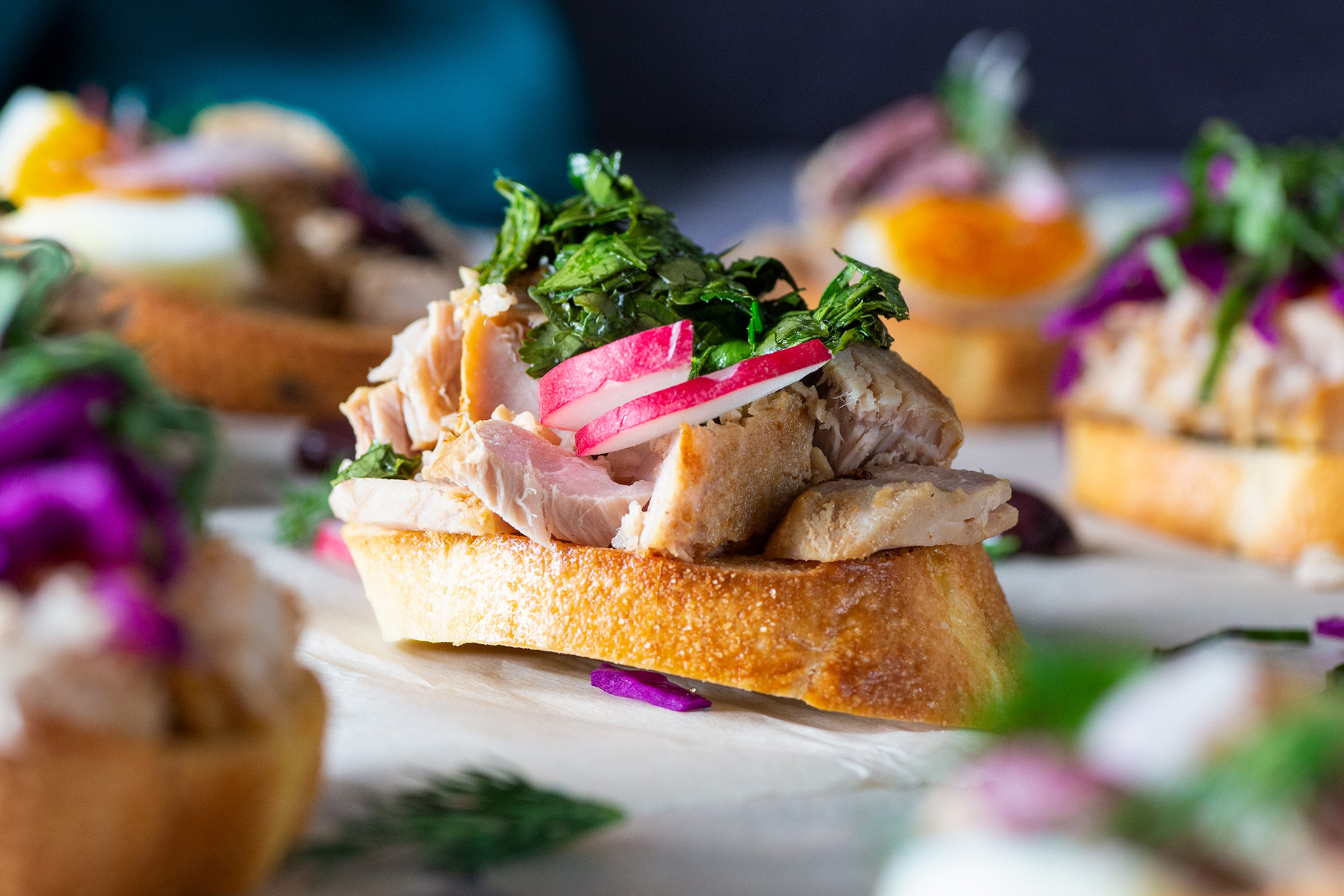 Naked Yellowfin Tuna Crostini with Chimichurri