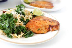 Tangy Kale Pasta with Thai Chili Tuna Steaks