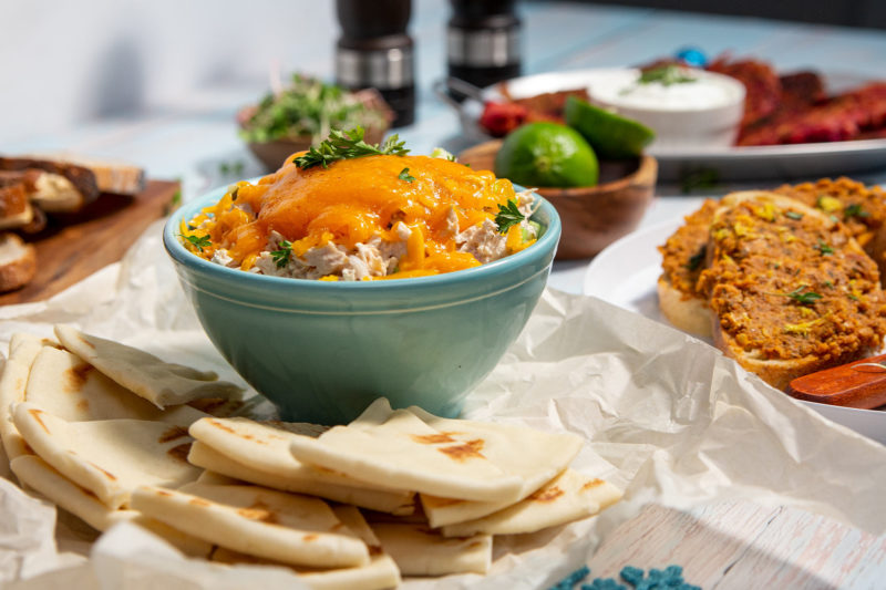 Oceans Warm Tuna Melt Dip with Naan Bread FEATURE
