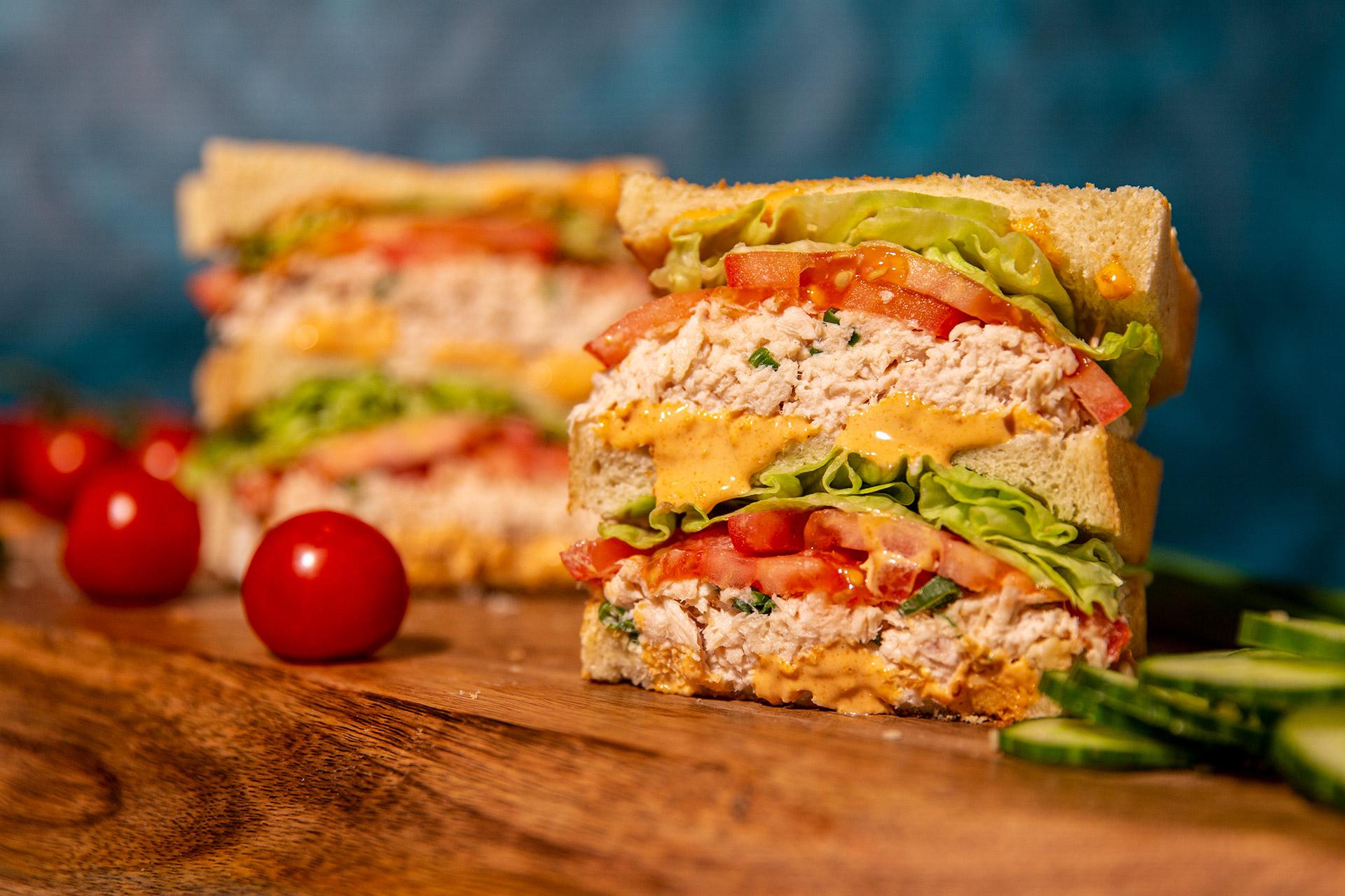 Spicy TLT (Tuna Lettuce Tomato) Sandwich